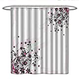 Light Pink Ruffle Shower Curtain Anshesix Floralcloth Shower curtainGrunge Flower Motif with Swirled Leaves Florets Paintbrush IllustrationCurved Shower Curtain rodBlack Light Pink Mint