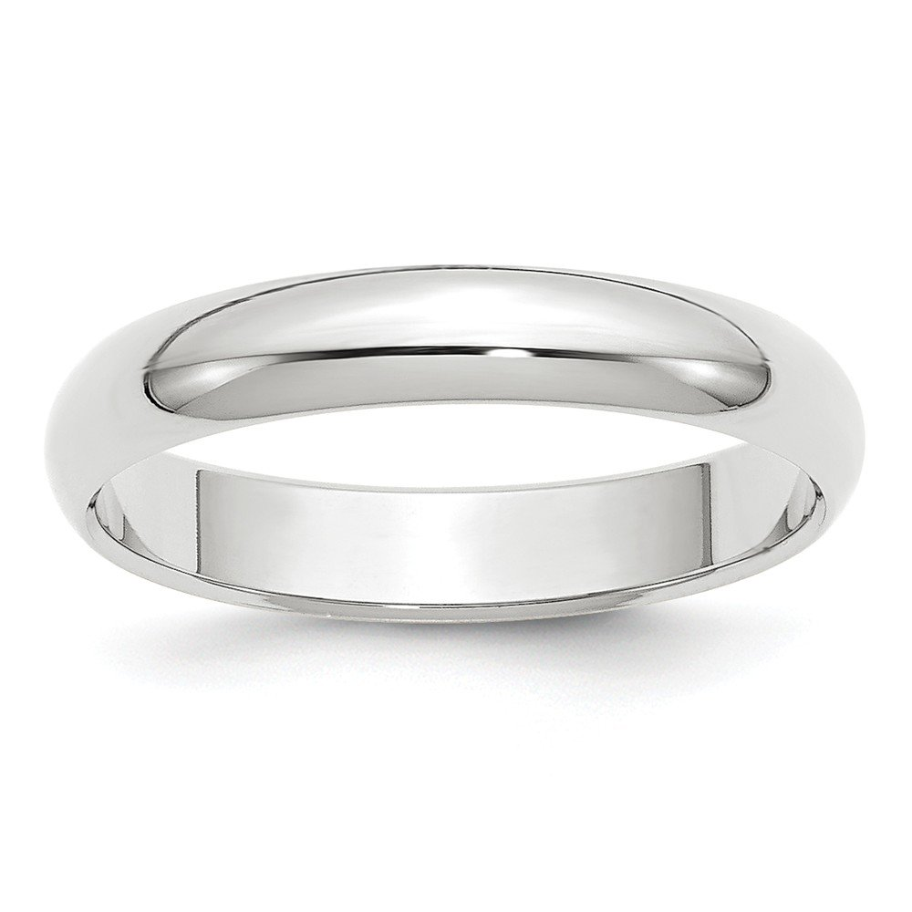Size 8 - Solid 14k White Gold 4mm Half-Round Wedding Band