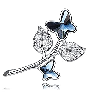 Leaf Spray Navy Blue Butterfly Swarovski Crystal Elements PIN Brooch 18K Gold Plated for Women Girls Fashion Valentine…