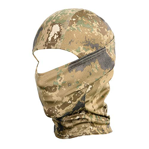 WTACTFUL Camouflage Balaclava Hood Ninja Outdoor Cycling Motorcycle Motorbike Hunting Military Tactical Airsoft Paintball Helmet Liner Gear Wind Dust Sun UV Protection Breathable Full Face Mask SB-02