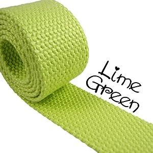 "1 Yard Cotton Webbing 1 1/4"" Medium Heavy Weight Lime Green"