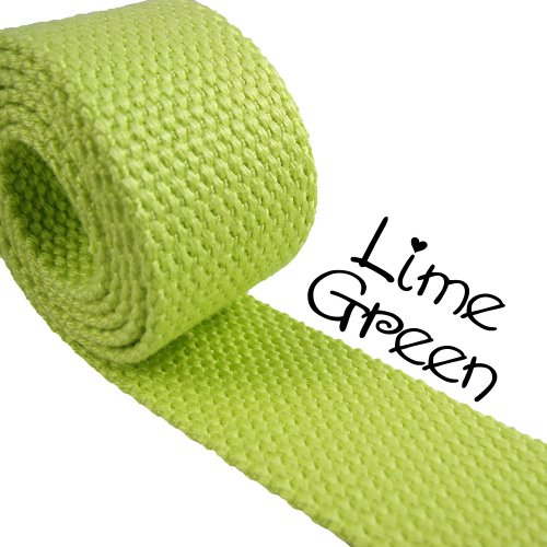 "1 Yard Cotton Webbing 1 1/4"" Medium Heavy Weight Lime Green"