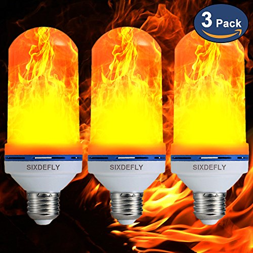 SIXDEFLY Flame Bulb[2018 New Upgrade] 3 MODES E26 Flame Effect LED Light Bulbs Flickering Fire Atmosphere Decoration Lighting for Hotel/ Bars/ Home/ Restaurants (Three Bulb Bar Light)