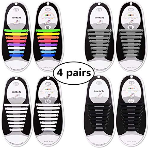 Talent Fashion Kids/Adults Tieless Elastic Silicone No Tie Shoelaces Waterproof Rubber Flat Running Shoe Laces for Sneakers Board Shoes Casual Shoes and Boots (4 No Tie Elastic Shoelaces for Adults)