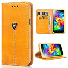 S5 Neo Case, Samsung S5 Wallet Case, Slim Magnetic Flip Leather Wallet Protective Case Cover for Samsung Galaxy S5 NEO - Orange