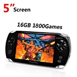Quality Handhelad Game Console 5 Inch Screen 16GB with 1800 Classic Games, Durable