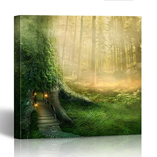 Emvency Painting Canvas Print Square 16x16 Inches Green Fairy Fantasy Tree House in Forest Magic Fairytale Tale Enchanted Door Wall Art Decoration Wrapped Wooden Frame