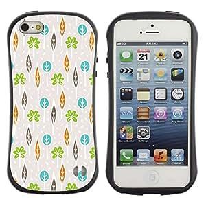 Suave TPU GEL Carcasa Funda Silicona Blando Estuche Caso de protección (para) Apple Iphone 5 / 5S / CECELL Phone case / / Beige Teal Green Orange Leaf /
