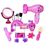 Fun Little Toys Pretend Makeup for Girls, Pretend Play Cosmetic Kit for Kids Toddlers, Pink Beauty Salon Toy Set