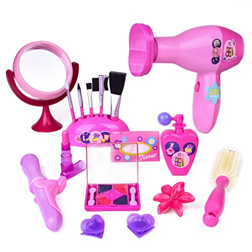 Pretend Play Makeup Kit for Little Girls Fashion Stylish Beauty Hair Salon Barber Pink Toy Set - 18pcs (Princess Hair Kit)
