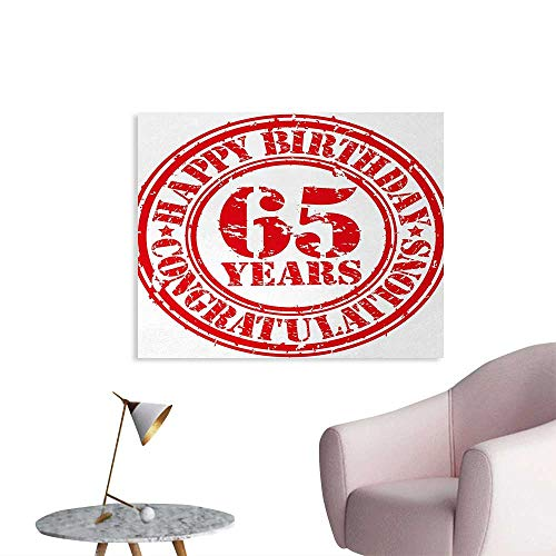 Tudouhoho 65th Birthday Cool Poster Sixty Five Years Old Congrats Symbol Icon Grunge Style Rubber Stamp Design Wall Picture Decoration Red White W36 xL24
