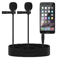 TONOR Dual Lavalier Microphone, Lapel Interview Mini Omnidirectional Condenser Shirt Micrófono externo para iPhone, teléfonos inteligentes Android, iPad, 55 pulgadas, negro