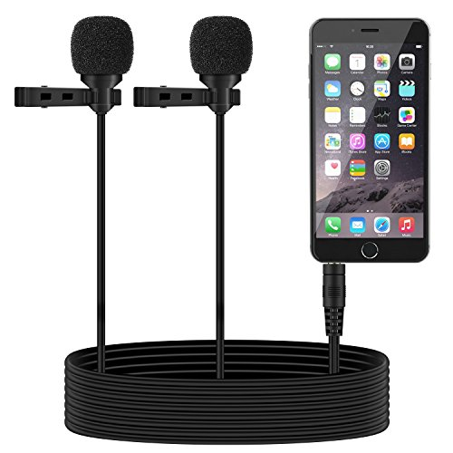 TONOR Dual Lavalier Microphone, Lapel Interview Clip-on Mini Omnidirectional Condenser Mic for iPhone, Android Smartphones, iPad, 55 inch, Black