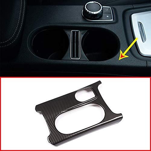 TOOGOO Carbon Abs Chrome Cup Holder Cover Trim for Mercedes A//Gla//Cla Class C117 W117 W176 X156 2012-17 Amg Car Accessory for Lhd