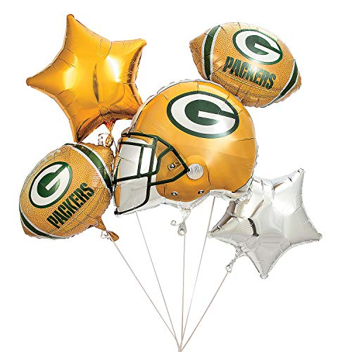 Fun Express - Nfl Green Bay Packers Balloon Set (5pc) for Party - Party Supplies - Licensed Tableware - Misc Licensed Tableware - Party - 5 Pieces