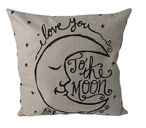Back Cushion Canvas (DolphineShow Cotton Linen Square Decorative Retro Throw Pillow Case Vintage Cushion Cover I Love You to the Moon and Back 18 X)