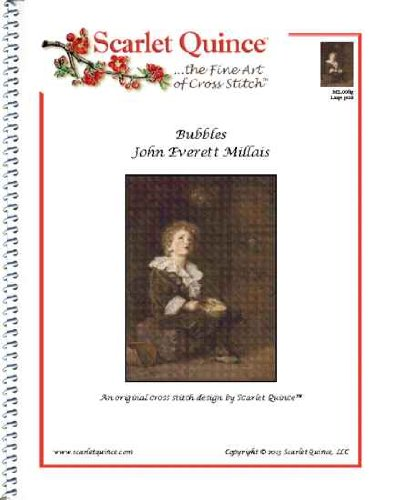 Bubbles Counted Cross Stitch - Scarlet Quince MIL006lg Bubbles by John Everett Millais Counted Cross Stitch Chart, Large Size Symbols