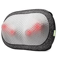 Mynt Cordless Shiatsu Massage Pillow with Heat for Neck, Back, Shoulders, Legs and Feet. Portable Massager with 2 Hours Battery - for Home, Office, Car, Garden and more