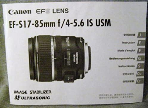 canon ef s 17 85mm f 4 5 6 is usm lens instruction manual canon rh amazon com Older Canon Lenses canon lenses instruction manual