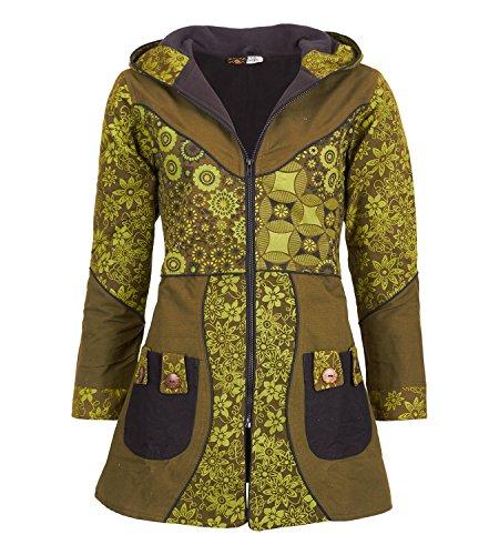 mujer de Abrigo verde militar diseño capucha de para algodón floral con Z7TxcTWBnq
