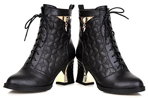 Riding Pointed IDIFU Ankle Fashion Toe Mid Up Heels Lace Chunky Booties Women's Black qUXxZUwz