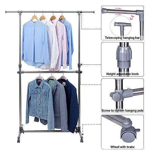 Songmics Double Rod Clothes Rack For Hanging Clothes