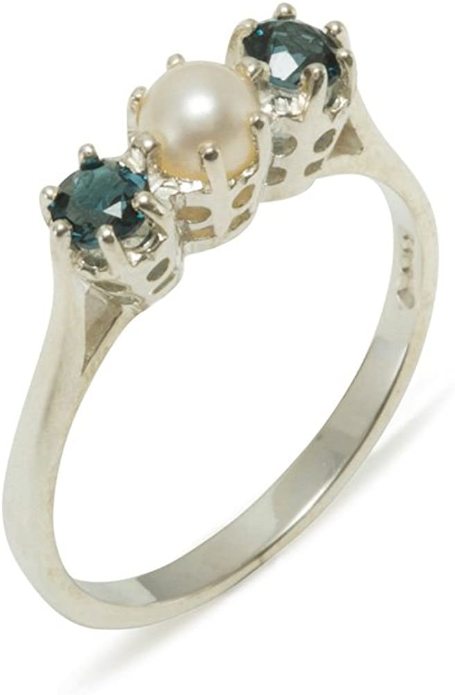 925 Sterling Silver Cultured Pearl & London Blue Topaz Womens Band Ring