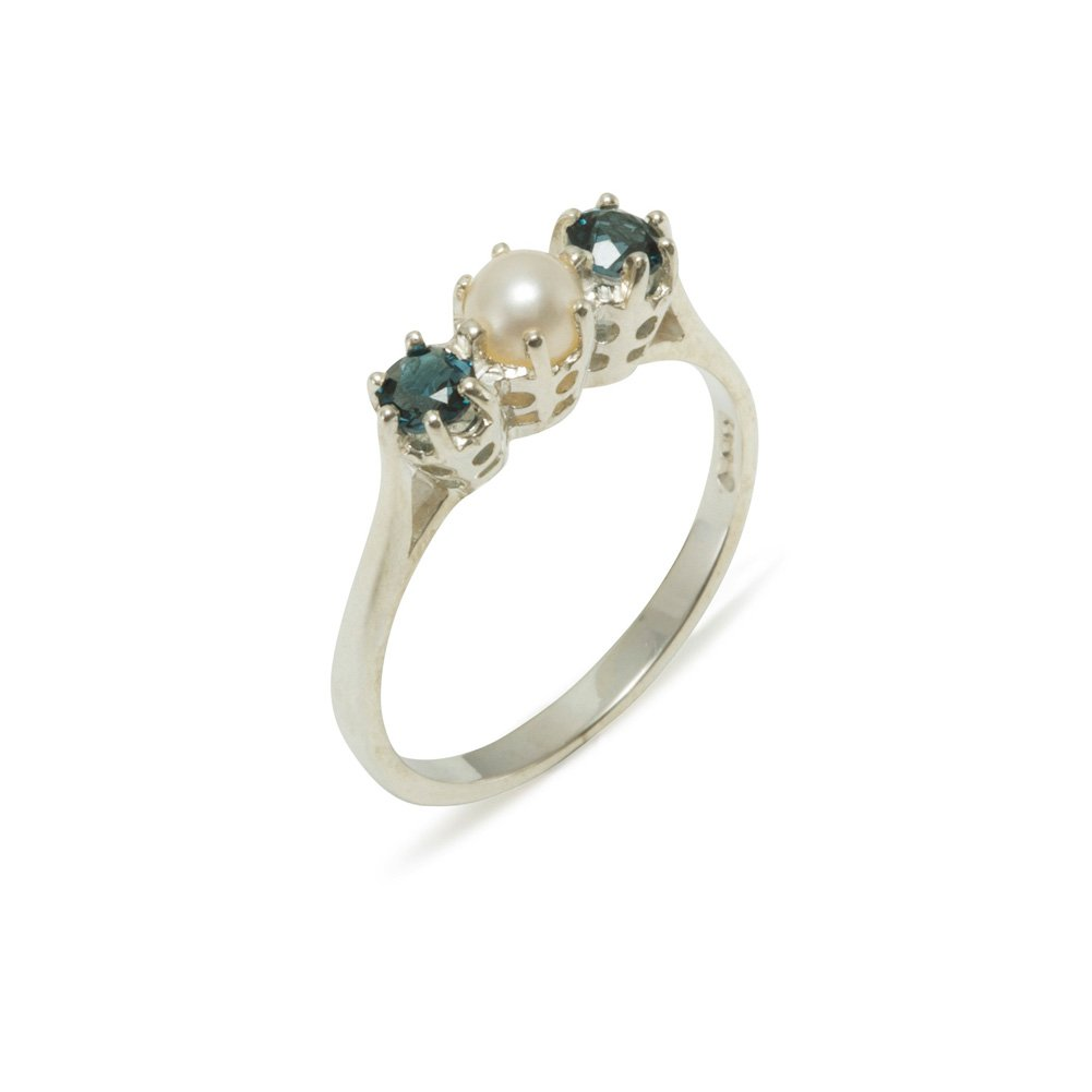 925 Sterling Silver Cultured Pearl & London Blue Topaz Womens Anniversary Ring - Size 7.25
