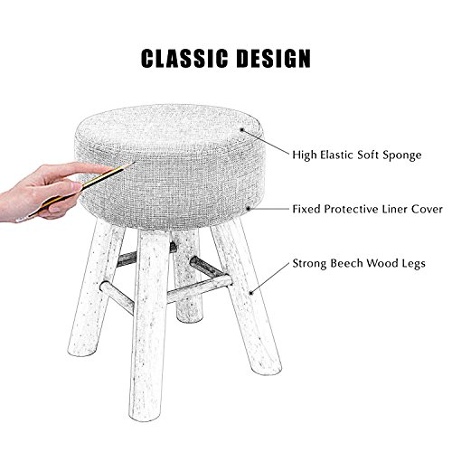 Jerry & Maggie - Footstool Fabric Ottomans Bench Seat Foot Rest Step Stool with Feet Protection Design | Round - Long 4 Legs - Light Grey by Jerry & Maggie (Image #5)