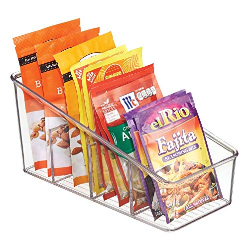 mDesign Large Plastic Food Packet Organizer Caddy – Storage Station for Kitchen, Pantry, Cabinet, Countertop – Holds Spice Pouches, Dressing Mixes, Hot Chocolate, Rice, Taco Seasoning – Clear