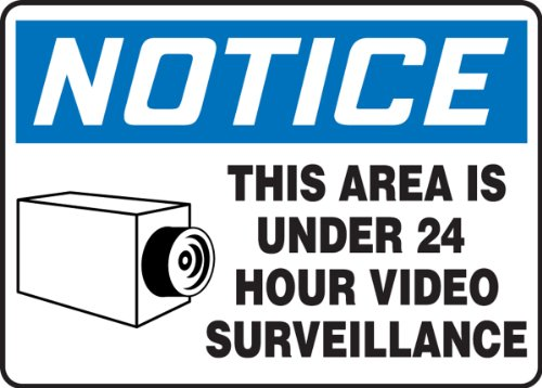 """Accuform Signs MASE806VS Adhesive Vinyl Safety Sign, Legend """"NOTICE THIS AREA IS UNDER 24 HOUR VIDEO SURVEILLANCE"""" with Graphic, 7"""" Length x 10"""" Width x 0.004"""" Thickness, Blue/Black on White"""