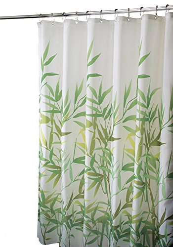 InterDesign Anzu Fabric Shower Curtain, Water-Repellent Bath Liner for Kids', Guest, College Dorm, Master Bathroom, 72