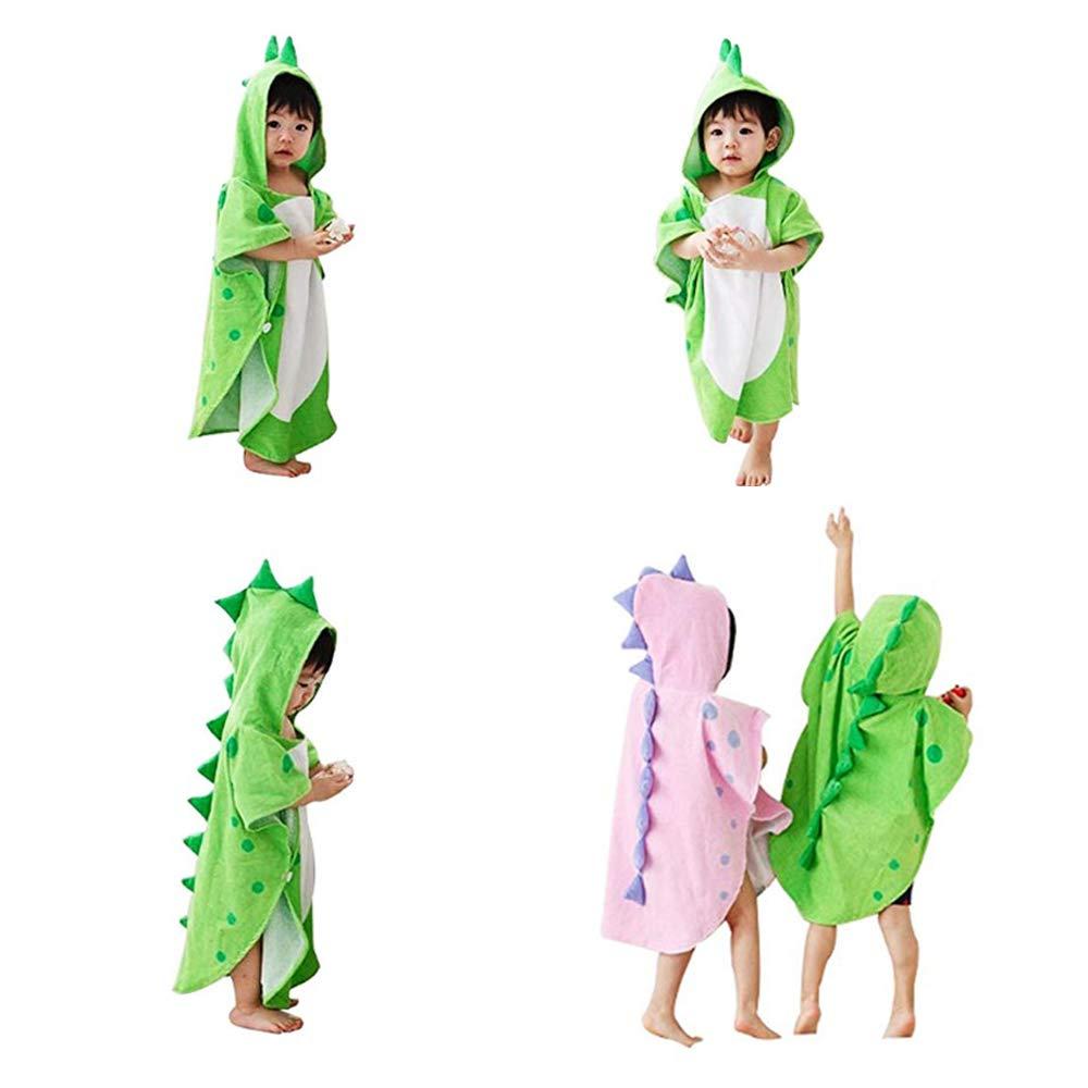 Verde, 55x117cm Pelande Ni/ños de Dibujos Animados ba/ño de Toalla con Capucha ba/ño de Poncho de algod/ón Suave ba/ño de Dinosaurio para ni/ños Manta de ba/ño