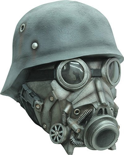 Chemical Warfare Gas Mask and Helmet Latex Halloween Head Mask by CC -