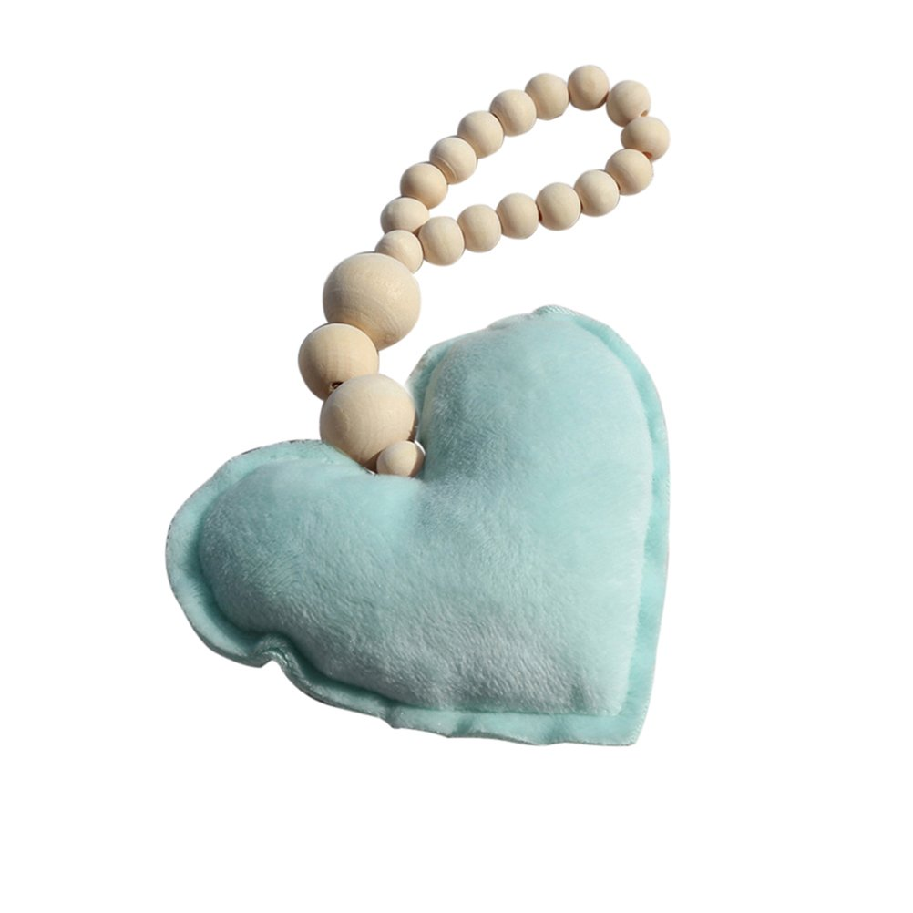 17YEARS Nordic Style Star Heart Wooden Bead String Tassel Pendant Wall Hanging Ornament size Heart* (White)