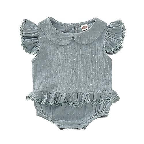 (Infant Baby Vintage Romper Ruffled Jumpsuit One-Piece Bodysuit Onesie Baby Girl Solid Romper Sunsuit)