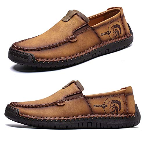 Casual Men Flat Shoes (Qiucdzi Men's Casual Leather Loafer Breathable Driving Boat Shoes Lightweight Slip On Flats Walking Sneakers Brown)