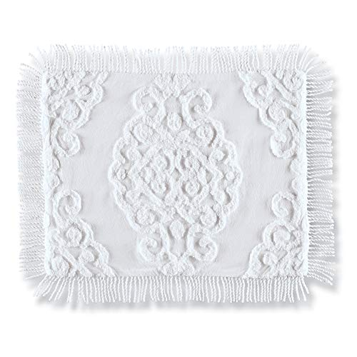 - Collections Etc Sarah Chenille Pillow Sham with Textured Scrolling Medallion Design and Fringe Border, White, Sham