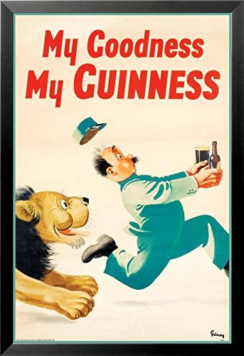 Framed Guinness Beer My Goodness My Guinness by Gilroy 24x16 Advertising Art Print Poster Irish Stout Brew ()