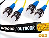12M OS2 ST ST Indoor/Outdoor Fiber Patch Cable | Duplex 9/125 ST to ST Singlemode Jumper 12 Meter (39.37t) | Length Options: 0.5M-300M | FiberCablesDirect - Made In USA | smf st/st single-mode dx sm