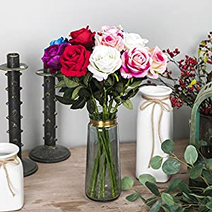 Smartcoco Artificial Rose Silk Flowers Fake Flowers for Vintage Home Wedding Decor, Pack of 6 (Multicolor) 116