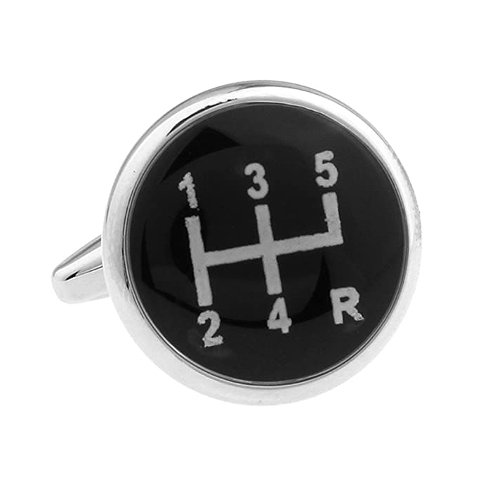 Silver Black Gear Shifter Wedding Cufflinks