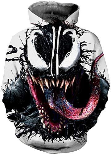 FLYCHEN Men's Digital Print Sweatshirts Hooded Top Galaxy Pattern Hoodie Venom-2 SM