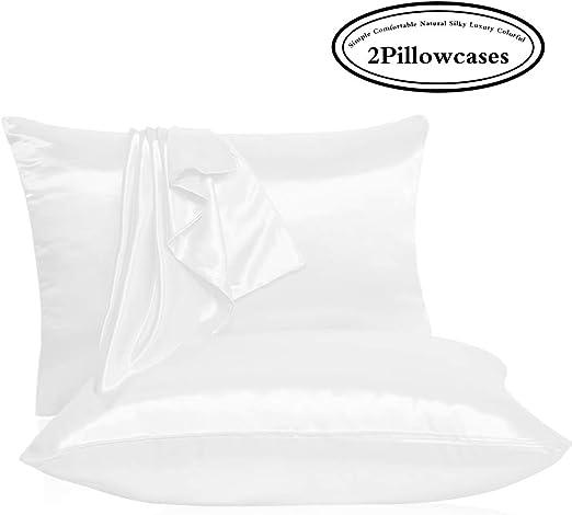 Amazon Com Leccod 2 Pack Shinny Silk Pillowcase With Hidden