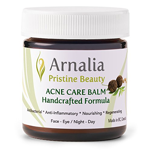 ARNALIA Acne Care Cream, 100% Pure Natural & Organic Wild Herbs, Face & Back Acne Spot Treatment, Cystic & Hormonal Acne, Teen Acne, Cold Sores, Tea Tree Oil Rapid Clear Balancing Cosmetic Balm 0.6oz
