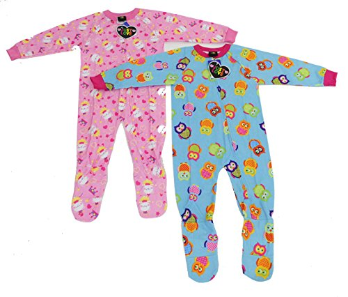 Price comparison product image Just Love Footed Pajamas / Blanket Sleepers (Pack of 2),Owl and Cat,18 Months