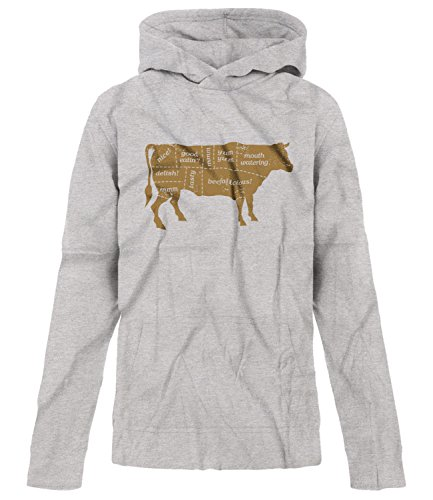BSW Youth Boys Beef Labels BBQ Cuts Steak Sirloin Cow Theme Hoodie LRG Grey