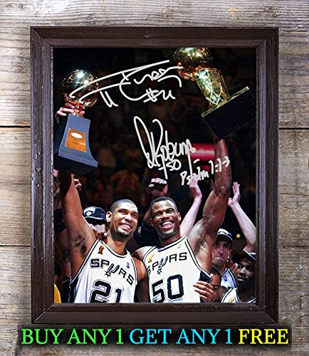 Tim Duncan David Robinson Basket Ball Autographed Signed 8x10 Photo Reprint #02 Special Unique Gifts Ideas Him Her Best Friends Birthday Christmas Xmas Valentines Anniversary Fathers Mothers Day ()