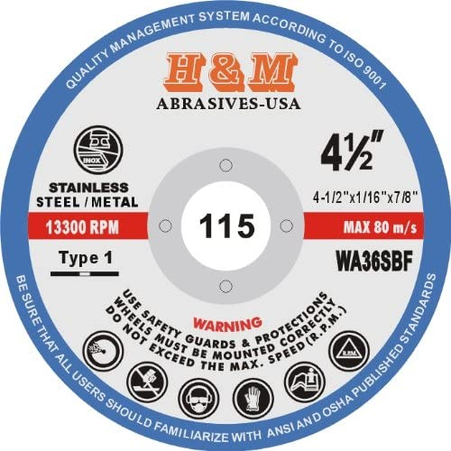 25 PACK 4-1//2 x 1//16 x 7//8 CUT-OFF WHEELS for Stainless Steel /& Metal Cutting Disc