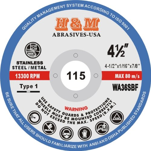 4-1/2'' x 1/16'' x 7/8'' CUT-OFF WHEELS for Stainless Steel & Metal Cutting Disc ( 100 PACK )